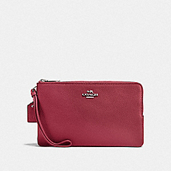 COACH F87587 - DOUBLE ZIP WALLET SV/DARK FUCHSIA