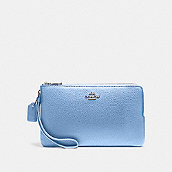 COACH F87587 Double Zip Wallet SILVER/POOL