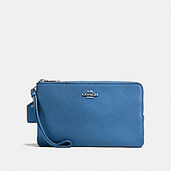 COACH F87587 Double Zip Wallet SKY BLUE/SILVER