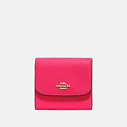 COACH F87588 Small Wallet NEON PINK/LIGHT GOLD