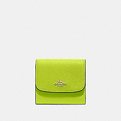 COACH F87588 Small Wallet NEON YELLOW/LIGHT GOLD