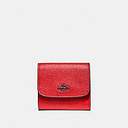 COACH F87588 Small Wallet BLACK ANTIQUE NICKEL/POPPY