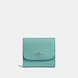 COACH F87588 Small Wallet SILVER/AQUAMARINE