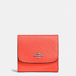 COACH F87588 Small Wallet In Crossgrain Leather SILVER/BRIGHT ORANGE