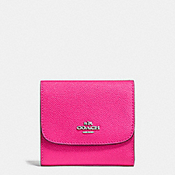 COACH F87588 Small Wallet In Crossgrain Leather SILVER/BRIGHT FUCHSIA