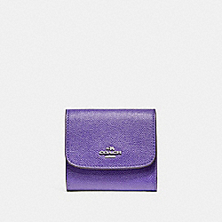 COACH F87588 Small Wallet In Crossgrain Leather SILVER/PURPLE