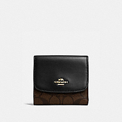 COACH F87589 Small Wallet In Signature Canvas BROWN/BLACK/IMITATION GOLD