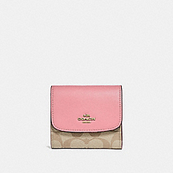 COACH F87589 Small Wallet In Signature Canvas LIGHT KHAKI/PEONY/LIGHT GOLD