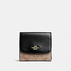 COACH F87589 Small Wallet In Signature Canvas KHAKI/BLACK/IMITATION GOLD