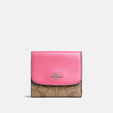 COACH F87589 SMALL WALLET IN SIGNATURE CANVAS KHAKI/PINK RUBY/GOLD