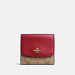 COACH F87589 Small Wallet In Signature Canvas KHAKI/CHERRY/LIGHT GOLD