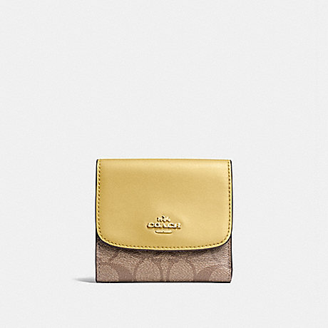 COACH F87589 SMALL WALLET IN SIGNATURE CANVAS KHAKI/SUNFLOWER/GOLD