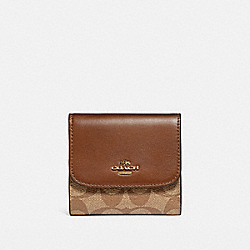 COACH F87589 - SMALL WALLET IN SIGNATURE CANVAS KHAKI/SADDLE 2/LIGHT GOLD