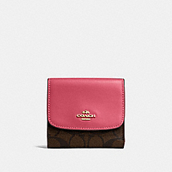 COACH F87589 - SMALL WALLET IN SIGNATURE CANVAS BROWN/STRAWBERRY/IMITATION GOLD