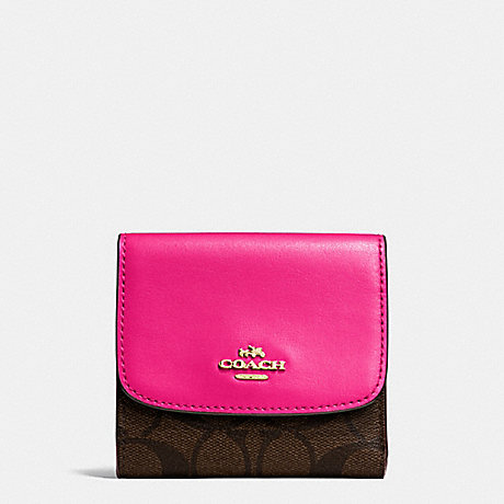 save off d9716 7017b COACH F87589 - SMALL WALLET IN SIGNATURE COATED CANVAS ...