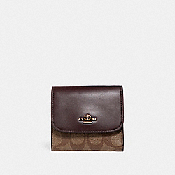 COACH F87589 Small Wallet In Signature Coated Canvas LIGHT GOLD/KHAKI