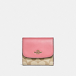 COACH F87589 Small Wallet In Signature Canvas LIGHT KHAKI/VINTAGE PINK/IMITATION GOLD