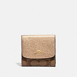 COACH F87589 - SMALL WALLET IN SIGNATURE CANVAS KHAKI/ROSE GOLD/LIGHT GOLD
