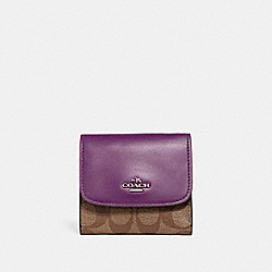 COACH F87589 Small Wallet SILVER/KHAKI/BERRY