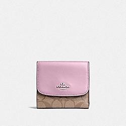 COACH F87589 Small Wallet In Signature Canvas KHAKI/LILAC/SILVER