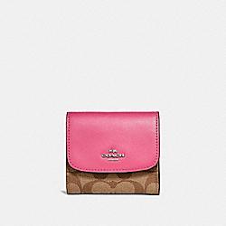 COACH F87589 Small Wallet SILVER/KHAKI/MAGENTA