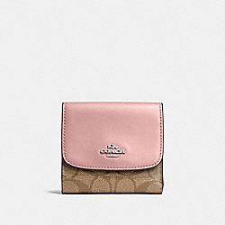 COACH F87589 Small Wallet In Signature Canvas KHAKI/PETAL/SILVER