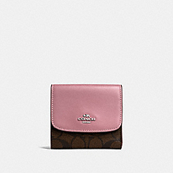 COACH F87589 Small Wallet In Signature Canvas BROWN/DUSTY ROSE/SILVER