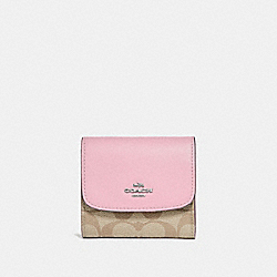 COACH F87589 Small Wallet In Signature Canvas LIGHT KHAKI/CARNATION/SILVER