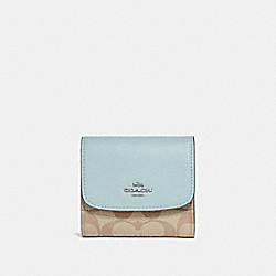 COACH F87589 - SMALL WALLET IN SIGNATURE CANVAS LIGHT KHAKI/SEAFOAM/SILVER