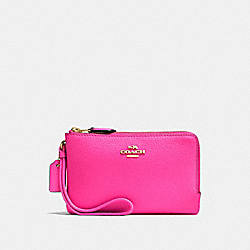 COACH F87590 Double Corner Zip Wristlet PINK RUBY/GOLD