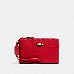 COACH F87590 Double Corner Zip Wristlet IM/BRIGHT RED