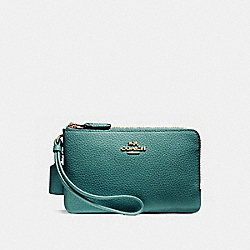 COACH DOUBLE CORNER ZIP WALLET IN POLISHED PEBBLE LEATHER - LIGHT GOLD/DARK TEAL - F87590