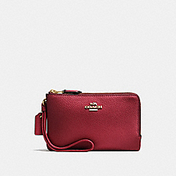 COACH F87590 Double Corner Zip Wristlet CHERRY /LIGHT GOLD