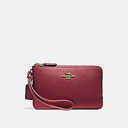 COACH F87590 Double Corner Zip Wallet In Polished Pebble Leather LIGHT GOLD/CRIMSON