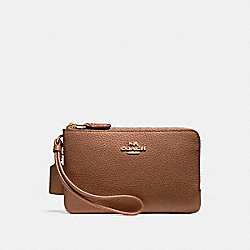 COACH F87590 Double Corner Zip Wallet In Polished Pebble Leather LIGHT GOLD/SADDLE 2