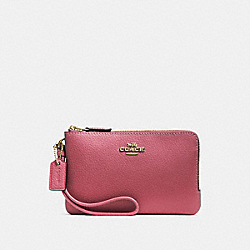 COACH F87590 Double Corner Zip Wristlet STRAWBERRY/IMITATION GOLD