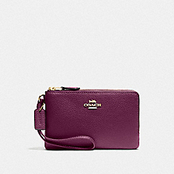 COACH F87590 Double Corner Zip Wristlet IM/DARK BERRY