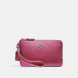 COACH F87590 Double Corner Zip Wristlet LIGHT GOLD/ROUGE