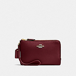 COACH F87590 Double Corner Zip Wristlet IM/WINE