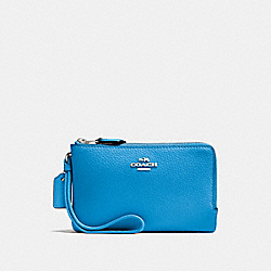 COACH F87590 Double Corner Zip Wristlet BRIGHT BLUE/SILVER