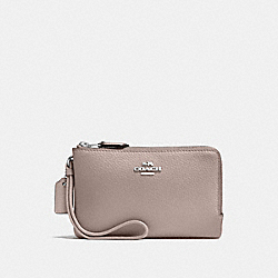 COACH F87590 Double Corner Zip Wristlet GREY BIRCH/SILVER