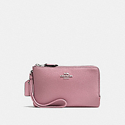 COACH F87590 Double Corner Zip Wristlet SILVER/DUSTY ROSE
