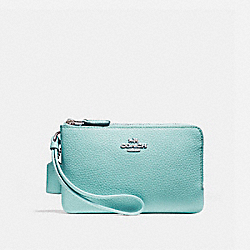 COACH F87590 Double Corner Zip Wristlet SILVER/SEA GREEN