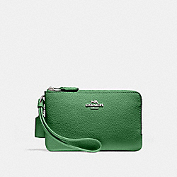 COACH F87590 Double Corner Zip Wristlet SILVER/KELLY GREEN