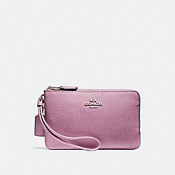 COACH DOUBLE CORNER ZIP WALLET IN POLISHED PEBBLE LEATHER - SILVER/LILAC - F87590