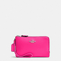 COACH F87590 - DOUBLE CORNER ZIP WALLET IN POLISHED PEBBLE LEATHER SILVER/BRIGHT FUCHSIA