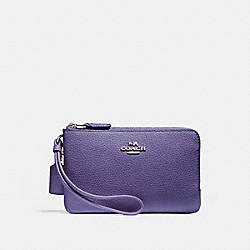 COACH F87590 Double Corner Zip Wristlet LIGHT PURPLE/SILVER