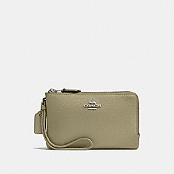 COACH F87590 Double Corner Zip Wristlet LIGHT CLOVER/SILVER