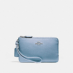 COACH F87590 Double Corner Zip Wristlet SILVER/POOL