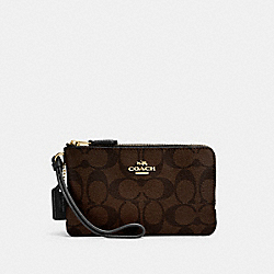 COACH DOUBLE CORNER ZIP WALLET IN SIGNATURE COATED CANVAS - LIGHT GOLD/BROWN - F87591